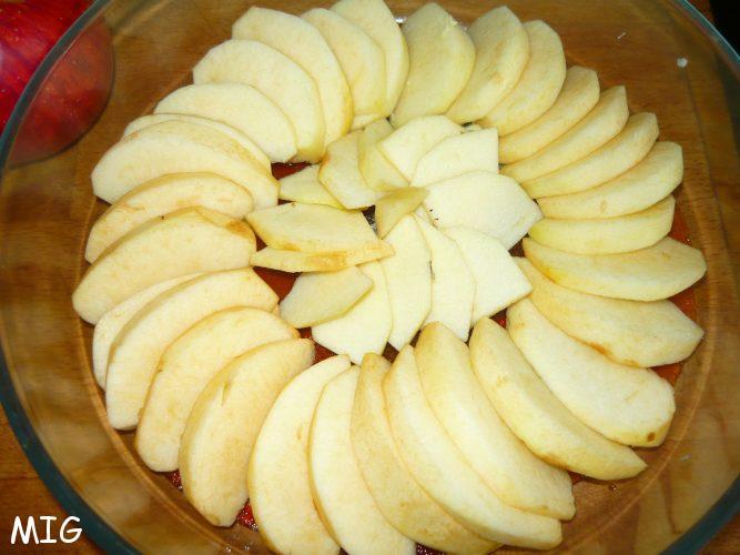 La première couche de pommes