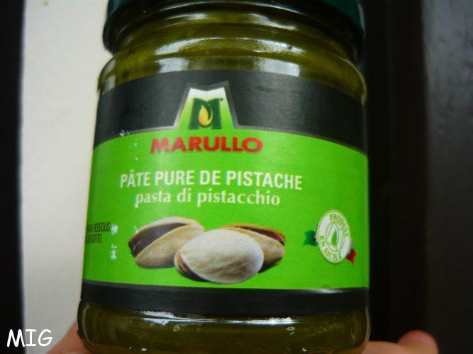 Pâte de pistaches de Sicile, pure, sur la liste des ingrédients, un seul : Pistachios.